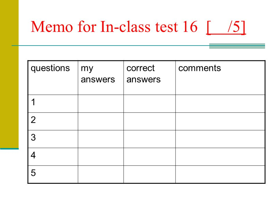 Memo for In-class test 16 [ /5]